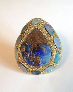Truly Amazing Fire Boulder Opal Ring by YaronaJewelryDesign, $525.00