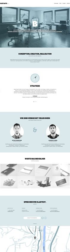 Responsive one page portfolio with a soft blue schemed flat design for digital agency, BUSTARTS, from Austria. Love how the team section has moving GIF's of the head shots.