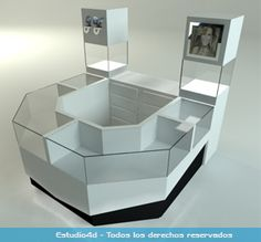 Islas para centro comercial - modulos comerciales - Estudio4d - Bogotá - Colombia Jewellery Shop Design, Jewellery Display, Kiosk Design, Booth Design, Cell Phone Kiosk, Nail Salon Design, Darry, Mobile Shop, Jewelry Showcases