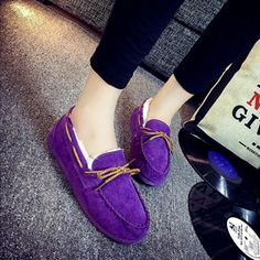 Mary Jane Suede Slip On Bowknot Flat Keep Warm Fur Lining Shoes - Gchoic.com