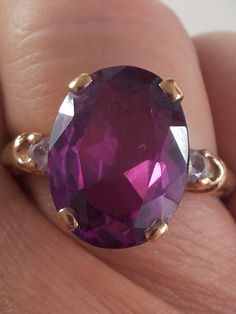 Vintage Amethyst Cocktail Ring Size 9 by acornabbey on Etsy