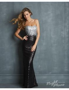 Night Moves By Allure 7026 Dress - Simple two toned sequin prom dress by Night Moves #macktak #prom2015 #nightmoves #jovani #eveningdresses #fashion #nyc
