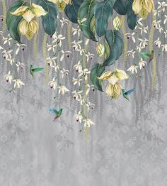 Trailing Orchid by Osborne & Little - Grey / Lemon - Mural : Wallpaper Direct Yellow Orchid, Pink Orchids, Orchid Wallpaper, Wall Wallpaper, Wallpaper Roll, Papier Paint, Osborne And Little Wallpaper, Design Textile, Teal And Grey