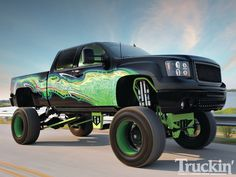 After his first custom truck was stolen, Tony Laughlin wasted no time in making his 2009 GMC Sierra as custom as he could. With a Coast Suspension lift kit and a custom airbrush paint job, this lifted truck is something we all envy, in Truckin' Magazine! American Pickup Trucks, Dodge Pickup Trucks, Custom Pickup Trucks, Vintage Pickup Trucks, Gm Trucks, Diesel Trucks, Cool Trucks, Truck Flatbeds, Truck Memes