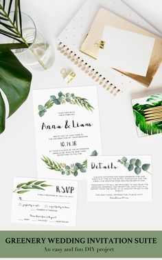 Lush eucalyptus wedding invitations are on trend. This greenery wedding invitation set designed by Papersizzle is perfect for any outdoor or botanical wedding. The templates are editable in Adobe Acrobat Reader (free version), which make them easy AND affordable as there is no need for a professional editor. Complete the look with matching place cards and thank you cards. Sign up for our newsletter at https://papersizzle.com/pages/newsletter and receive 15% off your first order!