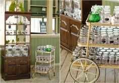 Gold vintage cart for lemonade station with mason jars and chalkboard signs.