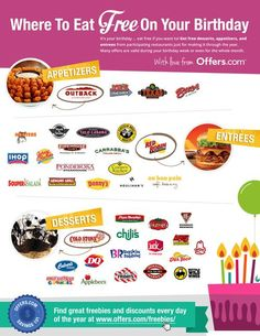 where to eat free on your birthday diy dinner easy diy diy tips tips birthdays happy birthday wishes life hacks life hack money saving Free On Your Birthday, Happy Birthday, Birthday Wishes, Birthday Gifts, Birthday Parties, 1000 Lifehacks, Birthday Freebies, Birthday Coupons, Def Not