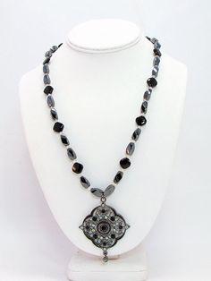 Hematite and Black Onyx Pendant Necklace B5 by daksdesigns