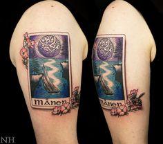 Swedish Moon Tarot  Nicholas Hart @ Deep Roots Tattoo in Seattle, WA  http://nickharttattoo.tumblr.com/