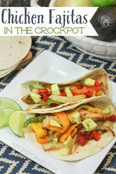Easy dinner recipe! Toss in chicken, peppers, onions, and seasonings in the crockpot, cook on low, and dinner is done! Crockpot Chicken Fajitas recipe