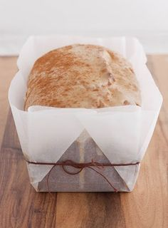 Wax Paper wrapping of bread or cake. A pretty packaging idea.