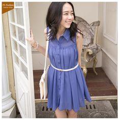 2013 Summer Fashion Chiffon Shirt Style Dress (With Belt)