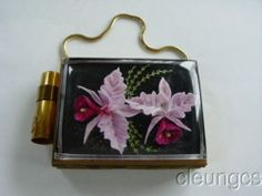 Vintage Carryall Compact Carved Lucite Orchids 2 Sided Goldtone 1950s Minty RARE | eBay