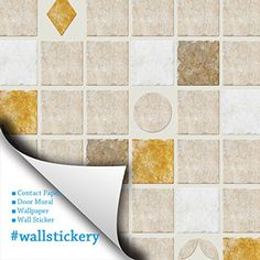 Wallstickery contact paper prepasted wallpaper for wall stickers tile  pattern self adhesive removable peel and stick DIY interior decorating home  164 ft by ... 8987baf0e51c
