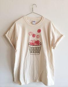 Screen Printed Apple T Shirt, Fruit Print, Fall Shirt by andMorgan on Etsy https://www.etsy.com/listing/247221172/screen-printed-apple-t-shirt-fruit-print