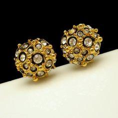 Vintage Large Clip Earrings Beaded Black Enamel Rhinestone Crystal NOS