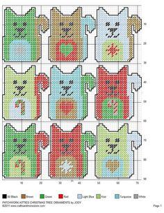 PATCHWORK KITTIES CHRISTMAS TREE ORNAMENTS by JODY
