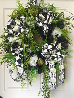 Mesh Wreath Neutral Green Black Wreath by WilliamsFloral on Etsy