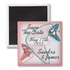 Fab Fifties Wedding Save The Date Magnet  This fab save the date magnet will start the fun! Mail these out first to build the anticipation for your matching Fabulous Fifties Vintage Wedding Invitation. A fun way to spread the news about your event. In classic pink and blue, it's great for a 50s Rock N Roll, Sock Hop, Grease, or American Graffiti theme wedding, or for any couple that loves classic cars, atomic age, and that fabulous 1950s style.