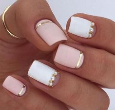Gold + white + pearls + Rose quartz nail design. I think I'm going with this one.#rosequartz #naildesigns #weddingnails #bridenails