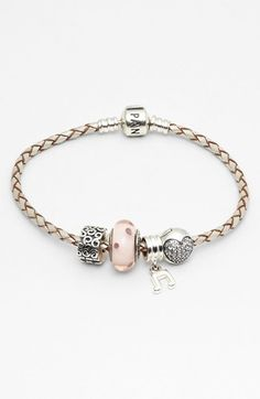 PANDORA Leather Bracelet  Charms  available at #Nordstrom