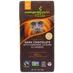 Endangered Species Chocolate, Темный шоколад с корицей, кайенский перец и вишни, 3 унции (85 г)