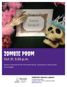 Brazoria County, Teen Programs, Zombie Prom, County Library, Youre Invited, Fancy