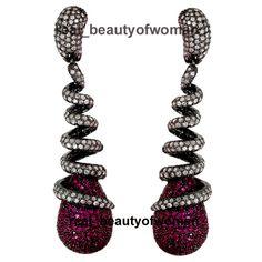 Artdeco Design 5.24cts Rose Cut Diamond Ruby .925 Silver Awesome Earrings Dangle…