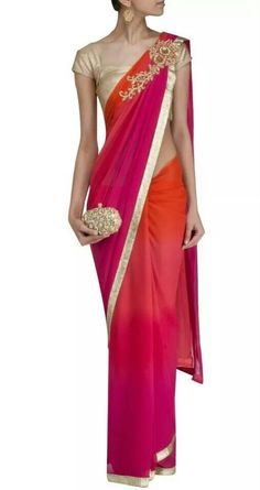 Lovely Pink Magenta & Orange Ombre #Saree w/ Gold Choli & Clutch