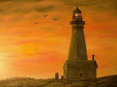 Yaquina Head OR Oil Painting Gerry Thrush by Eagle414 on Etsy, $40.00