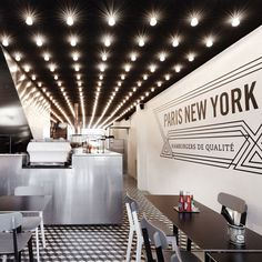 Love the lighting and floor tiles.... Paris New-York restaurant by CUT Architectures