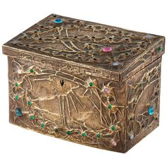 Art Nouveau Stars and Cosmos Metalwork Box with Glass Cabochons by Alfred Daguet. His hammered boxes were highly desirable objects which were made in the atelier above the gallery L'Art Nouveau owned by Siegfried Bing and retailed in the gallery | JV