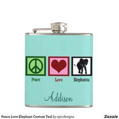 Peace Love Elephant Custom Teal Flask Gift