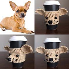 Tan Chihuahua Mug Cozy. #hookedbyangel #chihuahuamug #chihuahuaswag #dogcozy  #dogcup
