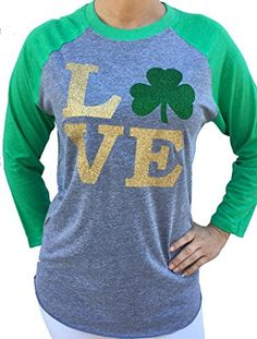 3b0f87b708c SoRock Womens St Patricks Day Glitter Love Shamrock 34 Sleeve Tri Blend  Tshirt XXLarge Green -