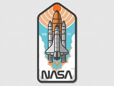 "SINGLE GIF: '""Nasa Badge Shuttle Animation"" by Austin Faure on August Dribbble. What's up guys! This is another SMASHWORKS collaboration illustrated by Fugoso and animated by myself Faure featuring the NASA space shuttle discovery on. Iphone Wallpaper Nasa, Badge Design, Logo Design, Cute Laptop Stickers, Space Artwork, Aesthetic Stickers, Cartoon Design, Space Shuttle, Logo Images"