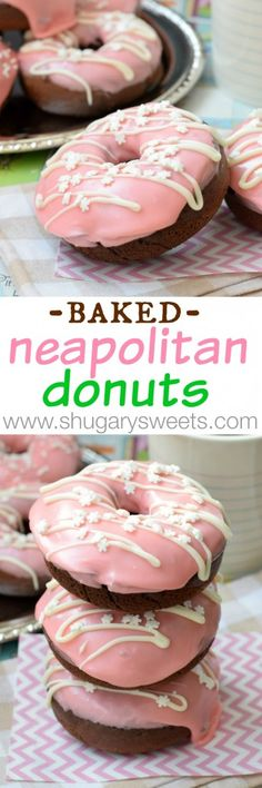 Neapolitan Donuts: baked chocolate donuts with a strawberry glaze and white chocolate drizzle. Ready in 30 minutes!