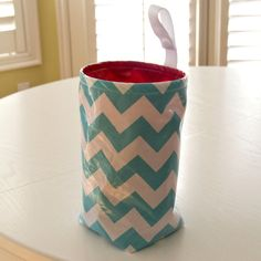 Wastebasket car trash can use anywhere trash can turquoise chevron with red lining laminated cotton waterproof WASTIE FREE Command Hook