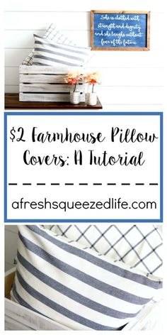 Farmhouse Pillows are all the rage these days! All it takes is $2 and I can show you how to sew them up for your living room!