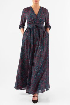Graphic Print Georgette Surplice Maxi Dress
