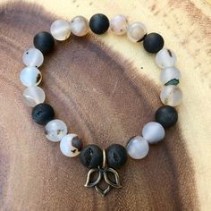 Montana Agate and Druzy Agate Healing Crystal Bracelet with Brass Lotus Charm handmade by Soul Sisters Designs