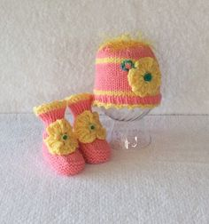 Rosebud Pink and Yellow Flower Spring New Baby Hat and Bootie Set by jwickey on Etsy