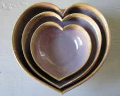 amethyst nesting heart shaped bowl set 4 inches by JDWolfePottery