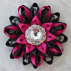 Flower Corsage Pin Hot Pink and Black Corsage Flower Black and Hot Pink Flower Pin Hot Pink Wedding Flowers Hot Pink Bridesmaid Flowers