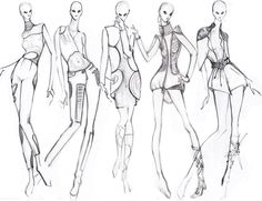 fashion croquis collection, fashion group pose