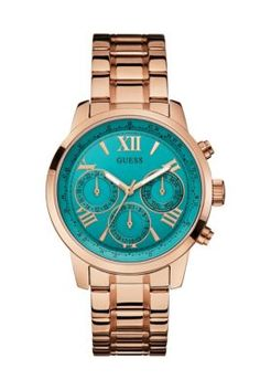 Turquoise and Rose Gold-Tone Feminine Classic Sport Watch