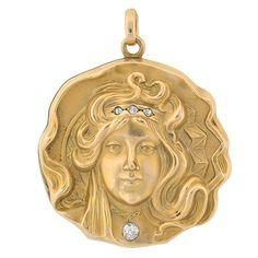 Art Nouveau 15kt Repousse & Diamond Maiden Locket