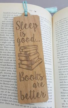 FREE US SHIPPING - Sleep is Good Books are Better Bookmark - Laser Engraved Alder Wood - Book Mark