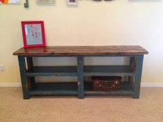 Distressed Turquoise Sofa Table