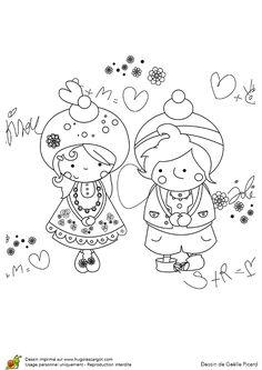 131 meilleures images du tableau coloriages pour les amoureux dessin couple jolie dessin et - Coloriage jolie ...